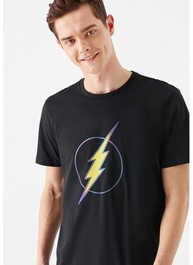 Mavi The Flash Baskılı  Tişört Siyah
